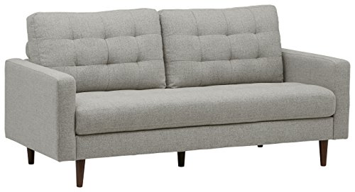 "Rivet Cove Mid-Century Modern Tufted Sofa with Tapered Legs, 72""W, Light Grey"