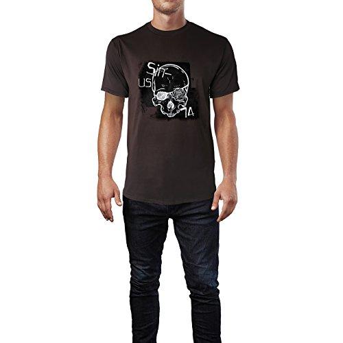 SINUS ART® Totenschädel mit Augenklappe und Rose Herren T-Shirts in Schokolade braun Fun Shirt mit tollen Aufdruck