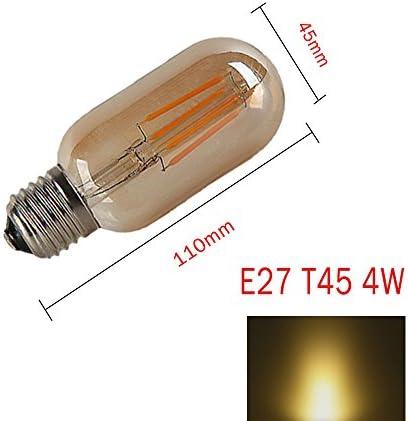 OUGEER 12 Pack Vintage E27 Screw Edison Led Light Bulb T45 4W Filament LED Bulbs Energy Saving Bulb Warm White 2300K 400LM AC 220-240V