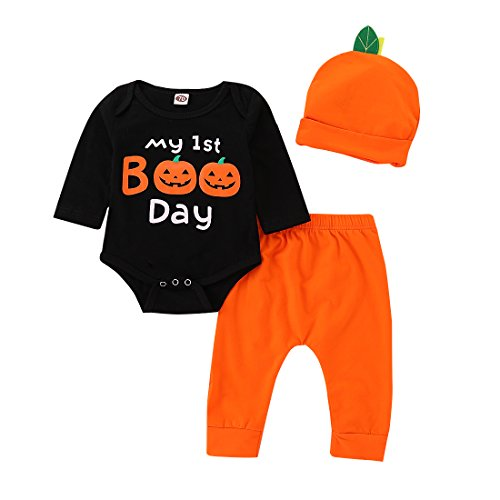 BELS Newborn Baby Girl Boy Halloween Clothes Set Pumpkin Romper Top + Pants with Hat Outfits Kids Clothing (Black, 18-24m(100))]()