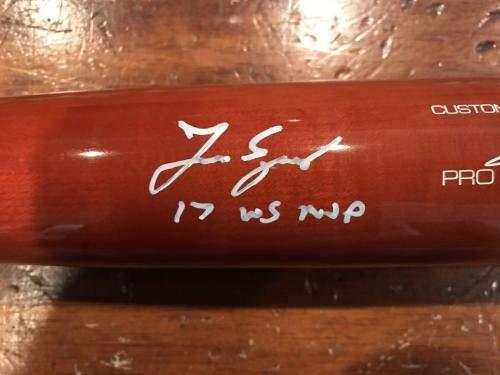 Autographed George Springer Bat Victus Game Orange Black Axe WS MVP #1 Autographed MLB Bats
