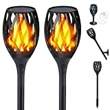 Solar Flame Light, Outdoor Waterproof Flickering Flames Torches Landscape Decoration Lighting Dusk to Dawn Auto On/Off Security Torch Light for Patio Driveway, Indoor USB Recharge Wall Lamp (2 Pack)