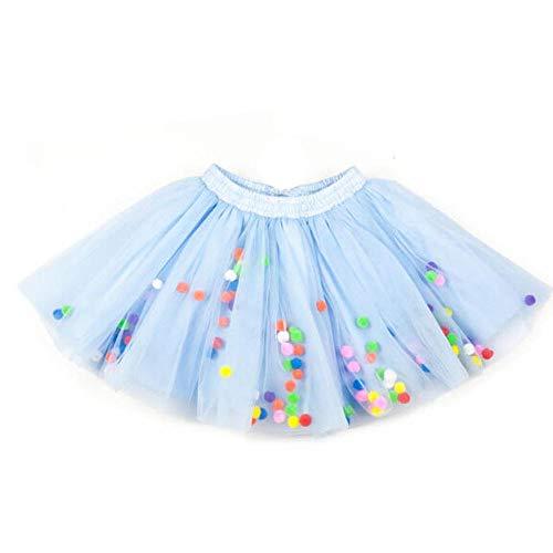 SANGQU Baby Girls' Polka Dot Tutu Glitter Ballet Triple Layer Tulle Dance Skirt Light Blue