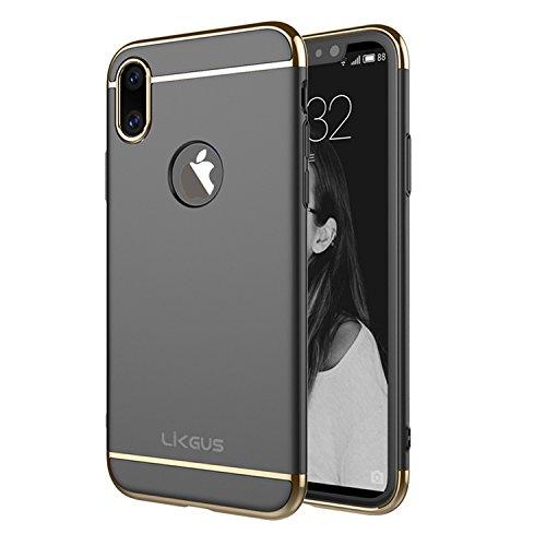 iPhone X Case,Likgus 3 In 1 Stylish Ultra Slim Hard Case Anti-Scratch Matte Finish Black for Apple iPhone X /iPhone 10 (2017)(Black)
