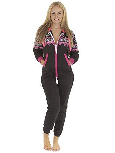Love My Fashions Women's Heart Aztec Print Onesie Hoodie Fleece Jumpsuit