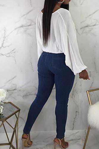 Donne Jeans Caviglia Pantaloni Attillati Vita Scurocolor Blu Alta Vepodrau Frustava Le Casual 5qCqEHw