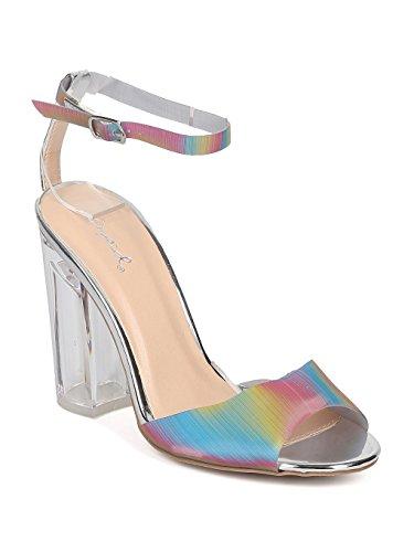 Women Mixed Media Rainbow Peep Toe Lucite Block Heel Sandal GF31 - Silver (Size: 7.0)
