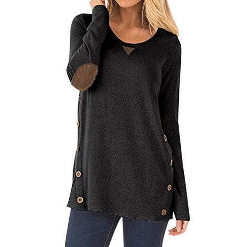 Hot Sale Womens Solid T-Shirt Casual Sweatshirt Long Sleeve Round Neck Button Loose Pullover Tops