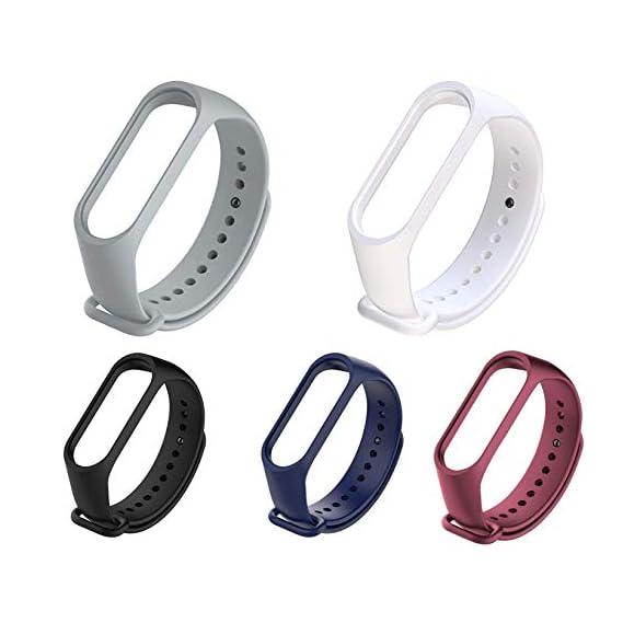 Liddu Wristband Band Straps for Xiaomi Original Mi 3 & Mi 4 Bands (Combo Pack, Pack of 5) (Grey, White, Black, Navy Blue