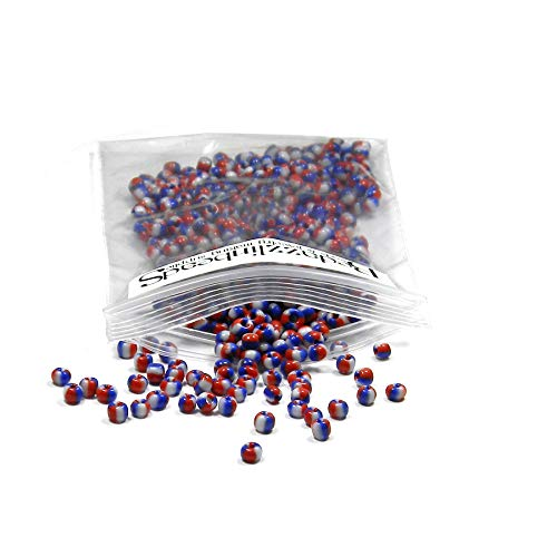 (1400 Glass 8/0 Opaque Striped Little 3mm #8 Seed Beads with 2 & 3 Colored Stripes (Red, White & Blue))