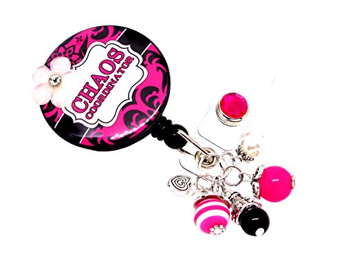 Chaos Coordinator | Manager | Secretary | Social Worker | Coordinator Retractable Badge Holder (Damask Dark Pink PRINT_AC)