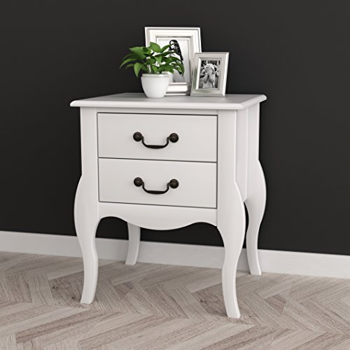 Curved Leg Table - White Finish Curved Legs Nightstand Side Table with Two Drawers