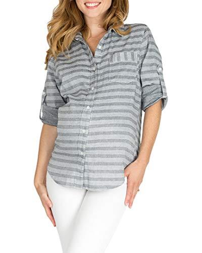 Nom Womens Sadie Striped Maternity Top, S