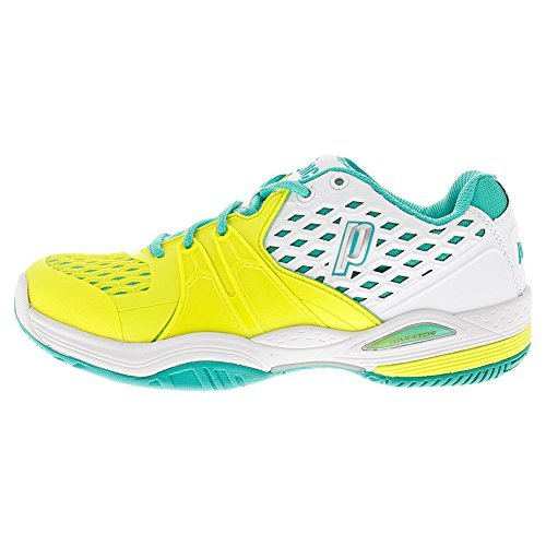 Prince Court Shoes (PRINCE Women`s Warrior Hard Court Tennis Shoes White and Lemon - (8P432-119B))