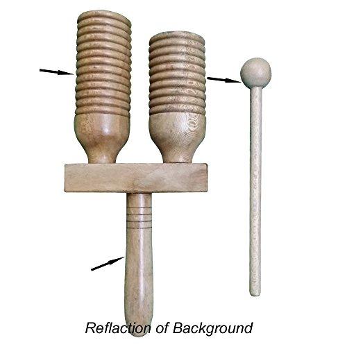 [해외]단단한 헨델 & 아프리카 나무 Agogo 더블 벨. /African Wooden Agogo Double Bell with Solid Handel & Beater