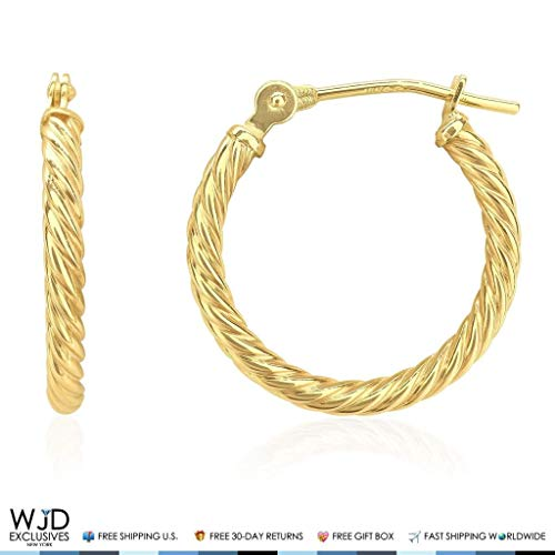 Rope Gold 14k Twisted (2 mm Thick Snap Closure Twisted Rope Style Hoop Earrings 14K Solid Yellow Gold)