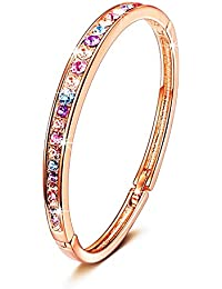 Mothers Day Gifts for Women Bracelet Rose Gold Plated Bangle Fashion Jewelry With Swarovski Crystals,7""