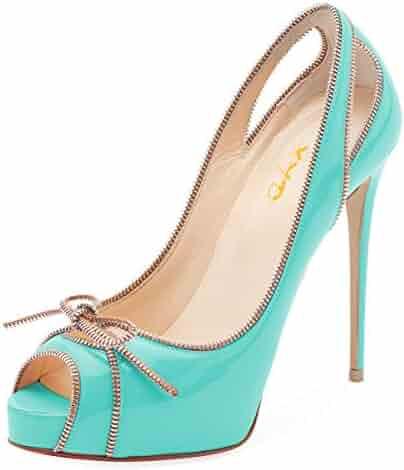 f389ba7d37f1 XYD Women Peep Toe Platform Pumps Cute Bows Stiletto High Heel Cutout Slip  On Zipper Decor