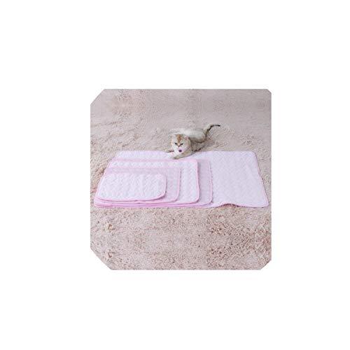 (Pet Cat Bed Mat Summer Pet Nest Floor Sofa Cool Ice Silk Mat Cat Cool Pad Soft and Comfortable Pet Mattress Cushion Cat Supplies,Pink,M)