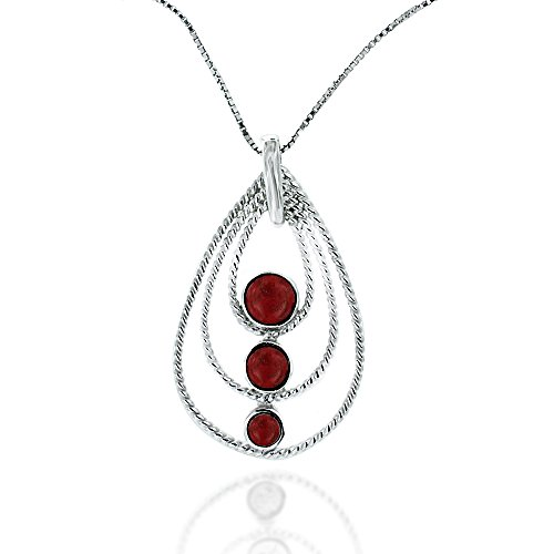 (Chuvora Rhodium Plated 925 Sterling Silver Teardrop Pear Shape Simple Modern Red Coral Pendant)