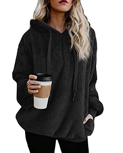 PRETTYGARDEN Women's Winter Long Sleeves 1/4 Zip Double Fuzzy Fleece Coat Oversized Hooded Pullover Sweatshirt Outwear with (Hooded Two Button Coat)