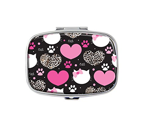 Leopard coat heart with cat face Custom Fashion Silver Square Pill Box Medicine Tablet Holder Wallet Organizer Case for Pocket or Purse
