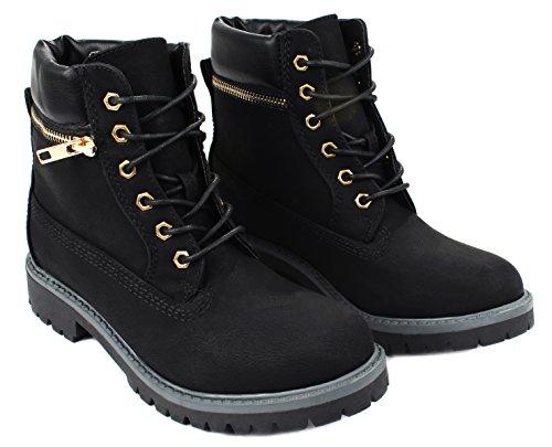 ... Denver10 Faux Nubuck Snøre På Golden Zip Innredning Ankelen Combat  Boots Black ...