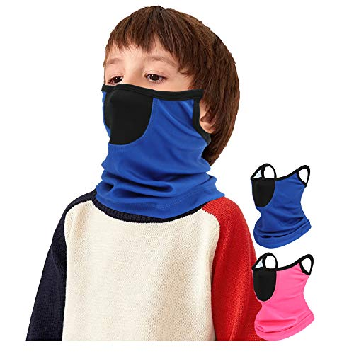 2 Pack Kids Winter Neck Gaiter Autumn Balaclava Cold Weather Face Cover Scarf with Ear Loops (2 Pack (Blue+Pink))