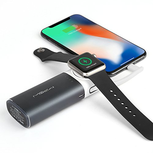 MIPOW 2 in 1 Apple Watch Charger, Wireless Charging Stand Holder Dock for iWatch, 6000mAh Portable Power Bank Charger with Build-in Lightning Cable for iPhone X/iPad / iPod(Gray) by MIPOW