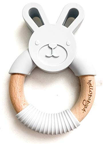 Organic Teether - hellobabyLA Animal Wood and Silicone Teether | Baby Natural Teething Relief | Organic & Eco Friendly 100% BPA Free | Bunny Fox Bear Elephant Cat Frog | Includes Gift Bag (Light Grey Bunny)