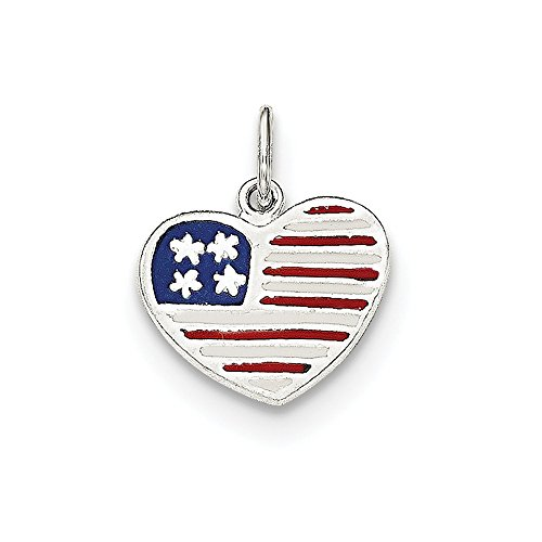 Solid Flag Heart Pendant - Solid 925 Sterling Silver Polished Enamel American Flag Heart Pendant