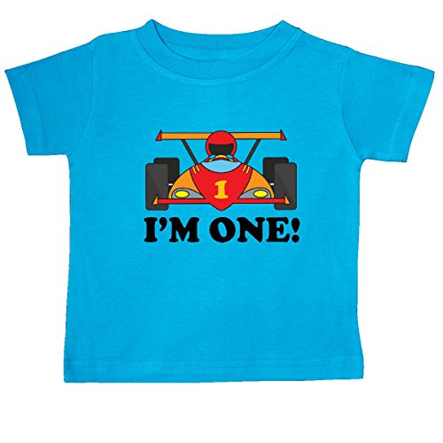 [Inktastic Baby Boys' Race Car 1st Birthday Baby T-Shirt 6 Months Turquoise] (985 Race)
