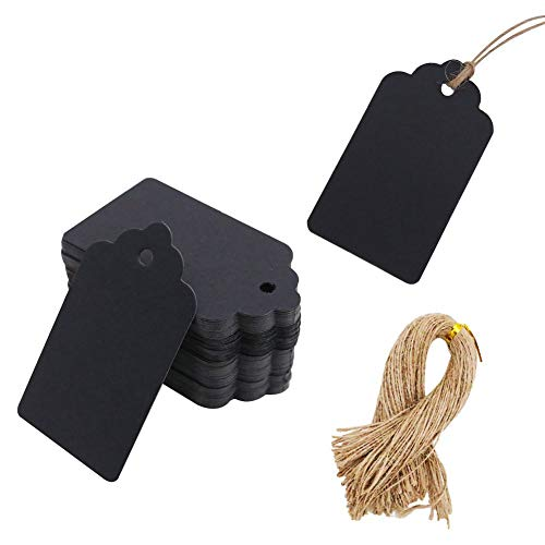 - 100pcs Black Paper Gift Tags with Free 100 Root Natural Jute Twine(Water Ripple)