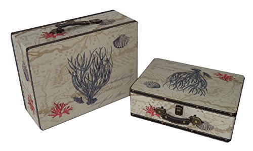Cheung's FP-3555-2B Flat Top Keepsake Decorative Suit Case with Coral Design| Set of 2 (Rattan Suitcase)