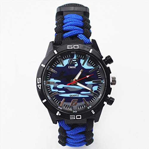 (SPORS Outdoor Camping Survival Watch, Multi-Function Marine Camouflage Compass Watch, Flint Whistle Watch-Blueandblacktwo-Tone)