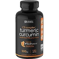 Turmeric Curcumin with Organic Coconut Oil & Bioperine (Black Pepper) for Enhanced Absorption - 120 Liquid Softgels Standardized to 95% Curcuminoids