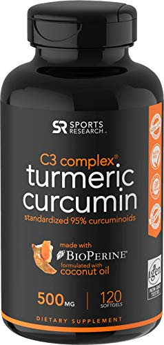 Turmeric Curcumin with Organic Coconut Oil & Bioperine (Black Pepper) for Enhanced Absorption - 120 Liquid Softgels Standardized to 95% Curcuminoids