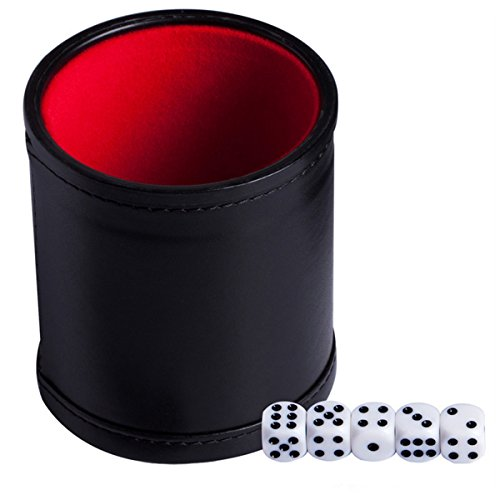 Dice Cup with 5 Poker Dices, Felt Lined Professional Dice Cup for Party Bar KTV and Casino/Yahtzee Game