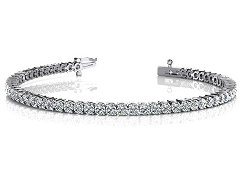 14KT White Gold 2ct H-I SI3/I1 2 Prong Set Round Diamond Tennis Bracelet - Diamond Mens Tennis Bracelet