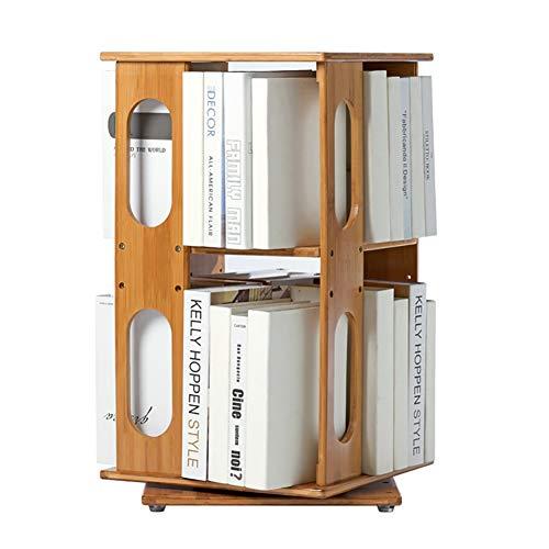 JANRON Shelving Natural Bamboo Bookshelf Revolving Bookcase, Natural Bamboo 360° Rotating Organizer Cabinet Rack Revolving Media Tower for Home or Office (Oak Cd Media Revolving Tower)