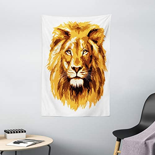 Ambesonne Safari Tapestry, Illustration of The Lion King Biggest Cat in Africa Animal in Tropics Artwork, Wall Hanging for Bedroom Living Room Dorm Decor, 40 X 60 , Amber White
