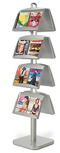 Double-Sided Aluminum Literature Display Stand with 8 Angled Magazine Pockets, Free-Standing, Height Adjustable, Heavy Duty Square Base with Rubber Feet, 18-1/4 x 75-1/2 x 18-Inch