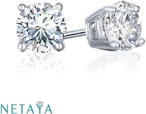 4 Prong Earrings For Women Kids Babies 14KT White Gold Round Diamond Accent Earrings