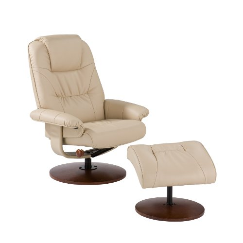 Bonded Leather Recliner w/ Ottoman - Birch Hardwood Base - Taupe