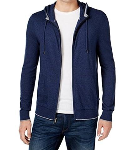 Michael Kors Midnight Mens Full-Zip Hooded Sweater Blue XL - Michael Kors Zip Cardigan