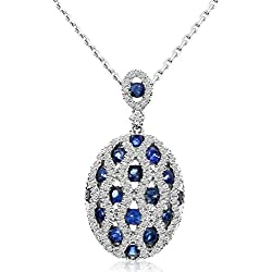 """1.19 Carat (ctw) 14k Gold Round Blue Sapphire and Diamond Fancy Pendant with 18"""" Chain Necklace (1 x 1 MM)"""