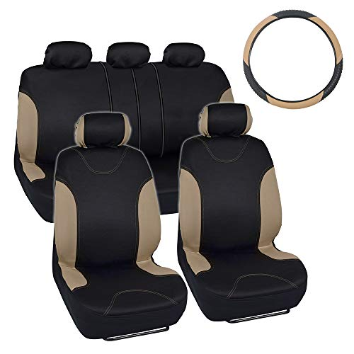 - Simply Covered - Accent Car Seat Covers & Steering Wheel Cover - Polyester Comfort Cloth (Beige)