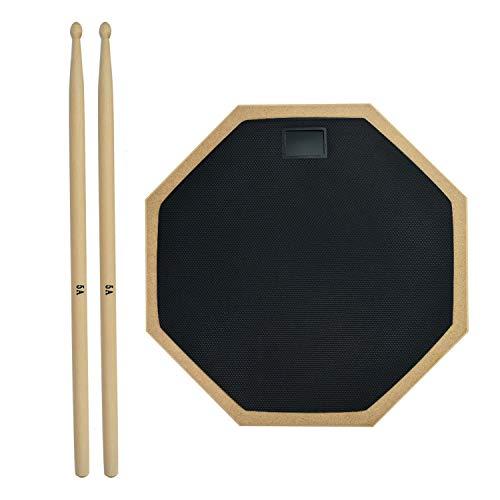 Gonioa 12 Inch Drum Practice Pad, 2-Sided Silent Drum Pad Set, Drum Beginner Rubber Practice Pad with 5A Drum Sticks