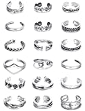 Thunaraz 18 PCS Knuckle Ring Open Toe Rings Set for Women Girls Vintage Retro Finger Ring Adjustable