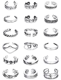 Thunaraz Thunaraz 3-18Pcs Toe Rings for Women Girls Adjustable Open Toe Ring Gifts Jewelry Set